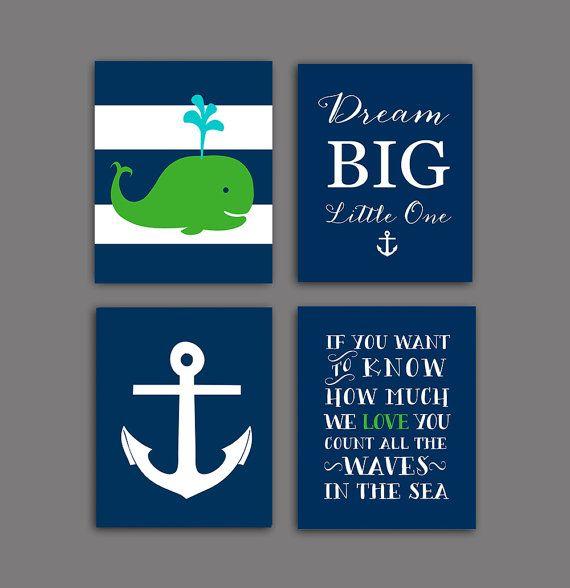Navy green nursery, nautical nursery decor, navy and green nautical Wall decor, baby boy nursery art set of 4, DIGITAL DONLOAD
