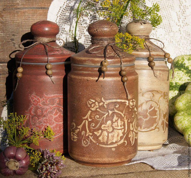 Купить Набор стеклянных баночек для кухни Деревенские - коричневый, банки для продуктов, банки для сыпучих