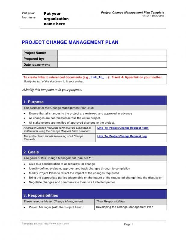 Change Management Planning Template template Pinterest Change