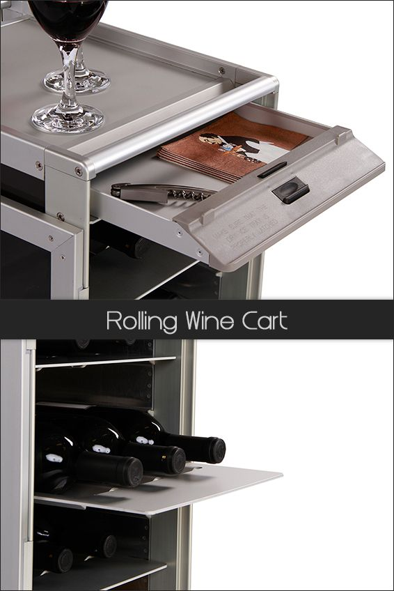 Rolling Wine Cart.  Every Skycart comes with a drawer for small utensils, like bottle opener, coasters, napkins, etc. #AirlineServiceCart - www.myskycart.com