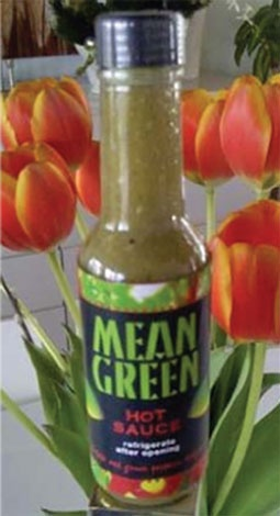 Mean Green hot sauce from Saleh Hamshari, former owner of Rotisseria. It's a P. Press Food Find: http://www.twincities.com/health/ci_17681689