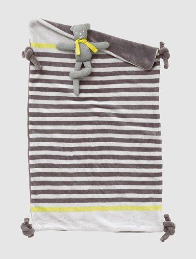 Reversible Blanket Coral / stripe+Grey / stripe