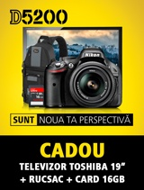 In perioada 19 februarie - 19 martie puteti achizitiona aparatul foto Nikon D5200 kit 18-55 VR impreuna cu rucsacul Lowepro Slinghot si card SanDisk Ultra 16GB. La inregistrarea aparatului pe nikonisti.ro primiti CADOU dupa 30 de zile un televizor Toshiba