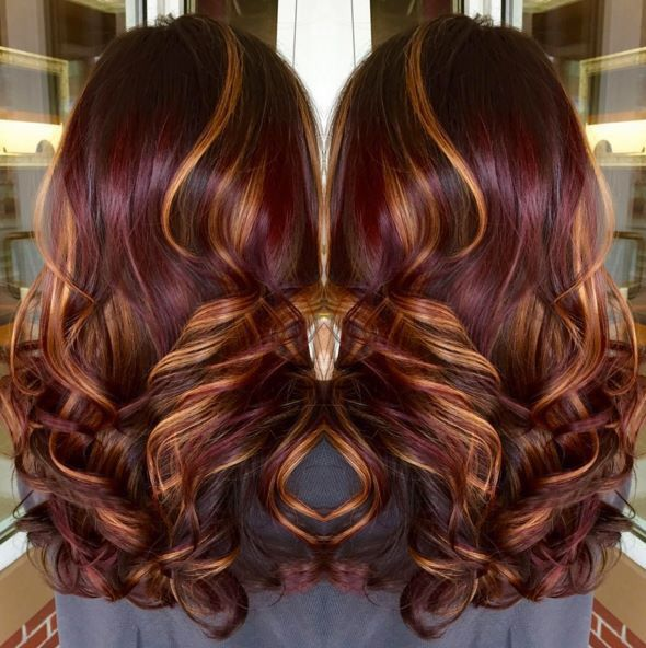 Copper Hilites With Burgundy Color Hair And Beauty