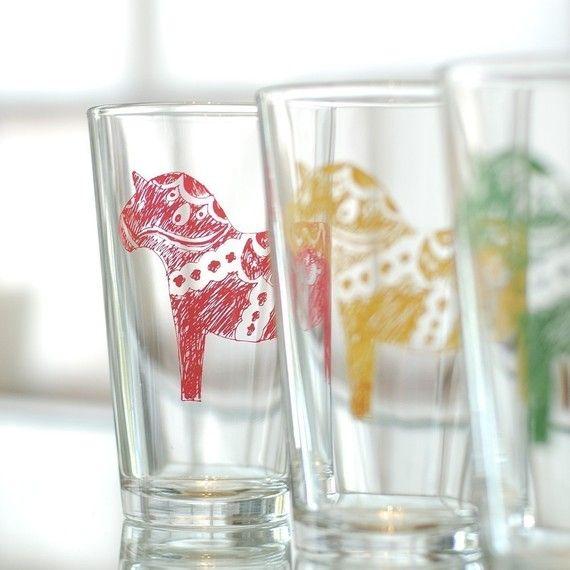Dala horse - Swedish pint glasses - Set of 4, red, yellow, green, blue