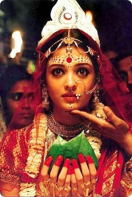 Aishwariya Rai as bengali  bride wearing alta.