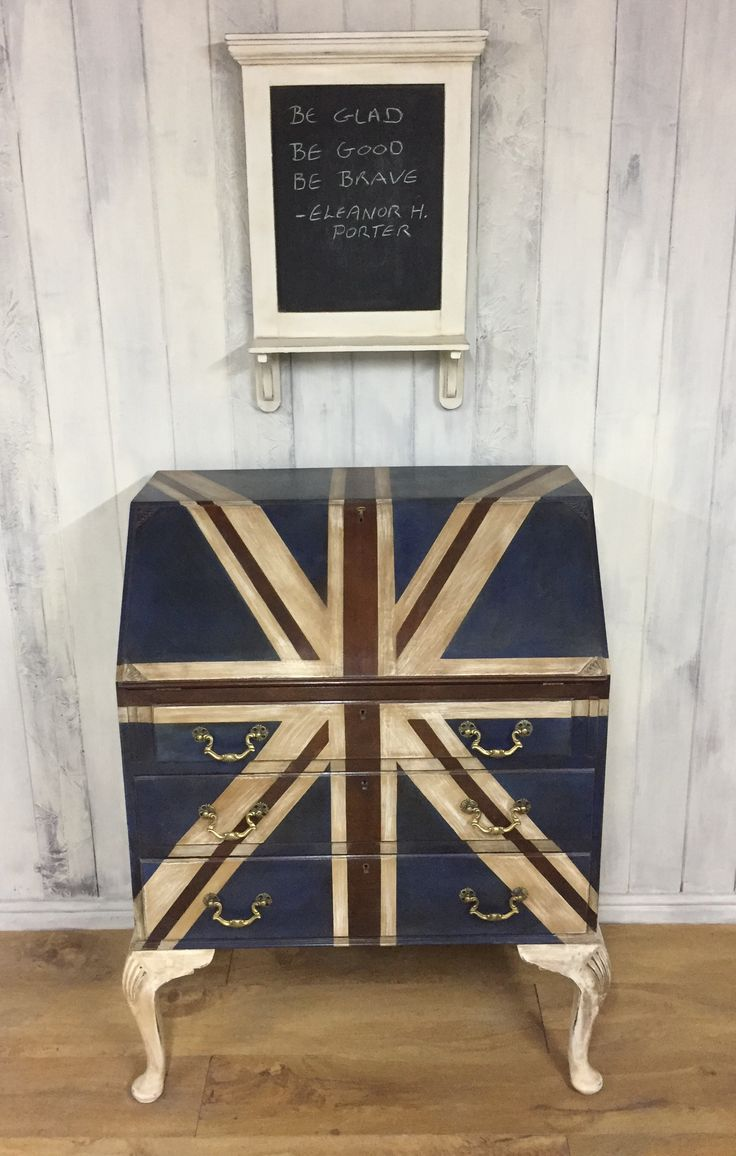 Union Jack-inspired bureau, painted in Annie Sloan Chalk Paint, with lashings of clear and dark wax.