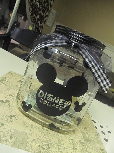 Vinyl + glass jar = super fun way to save for vacation :) i want to go to disney sooooo bad!!