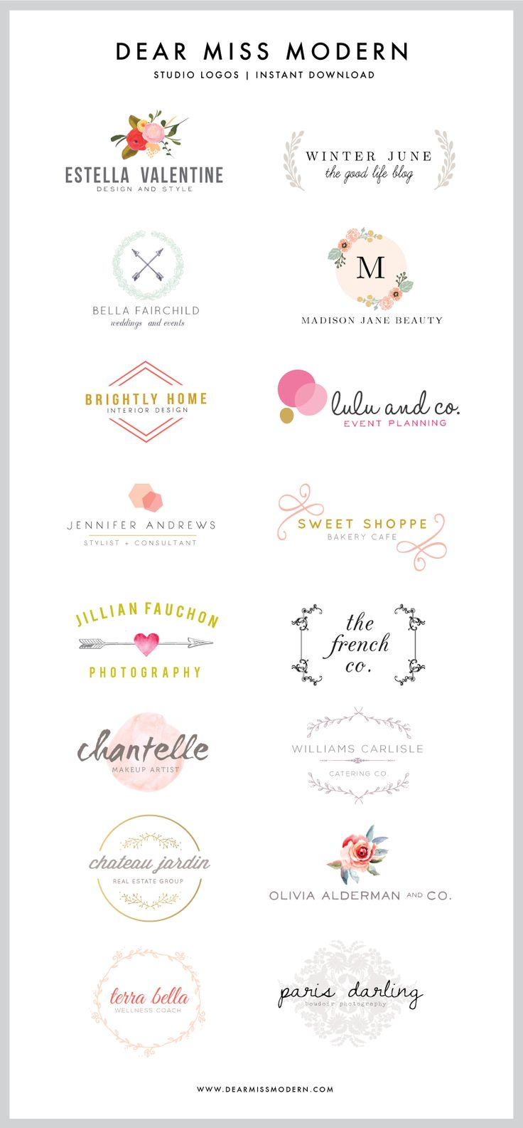UPDATE NOVEMBER 26th: NEW LOGOS IN THE DEAR MISS MODERN SHOP! Click Here to see them all:  Miss Modern Studio Logos Original post: Ok, here it is:  I LOVE to design logos, and I adore making them available in the Dear Miss Modern Shop for you guys.  New logos are WAY overdue (embarrassingly so), and […]