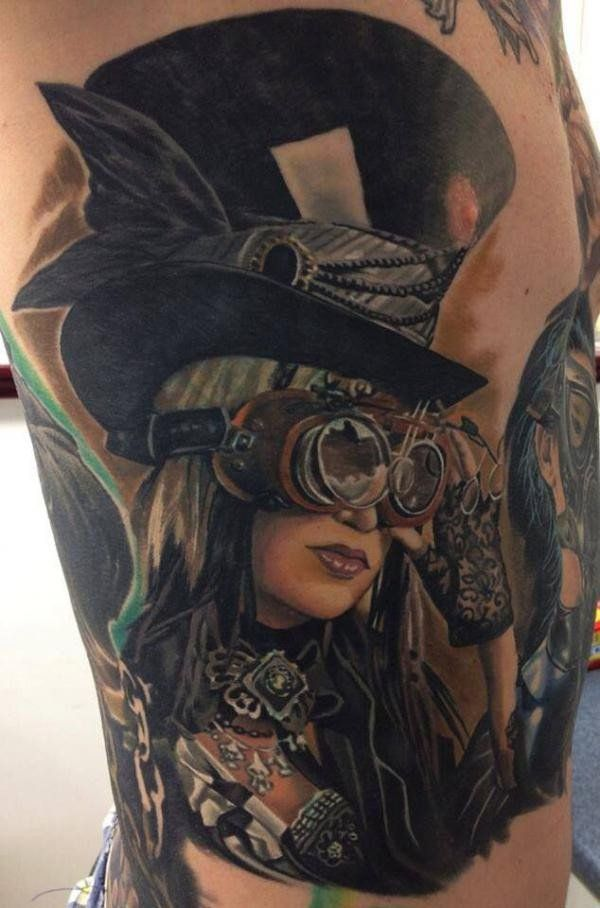 Steampunk girl tattoo - 25 Awesome Steampunk tattoo designs  <3 <3