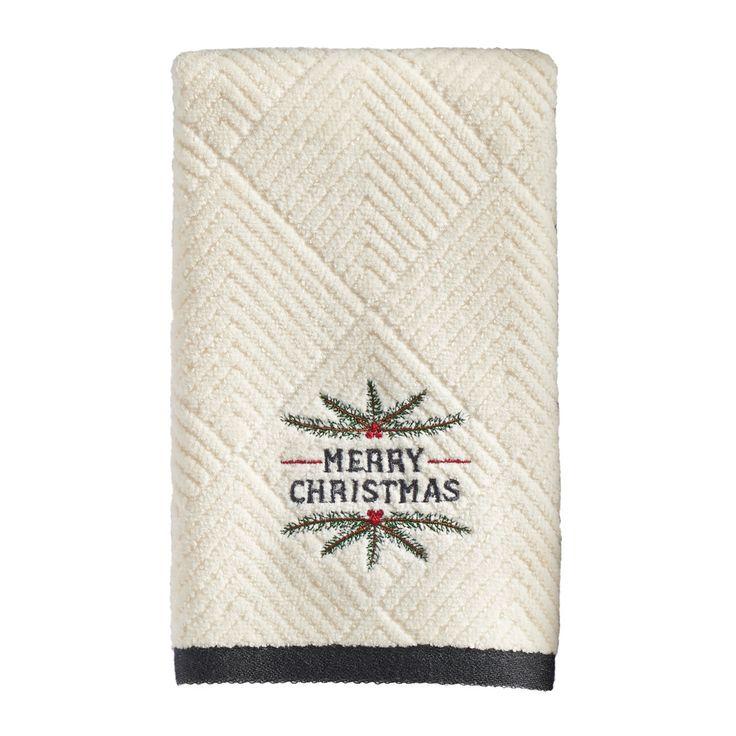 St. Nicholas Square® Christmas Holly Fingertip Towel, Natural