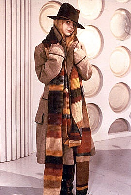 Romana (Lalla Ward) dressing as the 4th Doctor.  She married Tom Baker in real life it didnt last long. they ended their marriage shortly after he ended his run as the doctor!