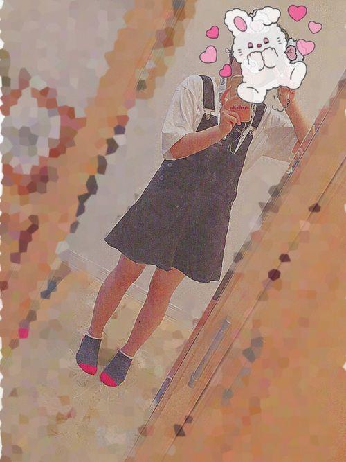 ♥.   今日のコーディネート  .♥  今日はサロペットスカートを着てみました!  やっぱり白と黒