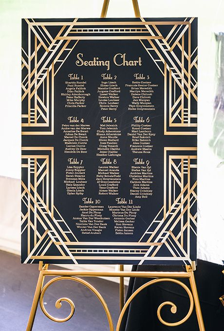 Brides: Gold Foil Seating Chart Display. Give your celebration an Art Deco-vibe with a gold foil seating chart display, like this option from Echo Creations.