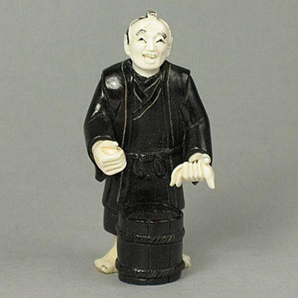 Antique Iron Wood Japanese Netsuke Japanese Old Man Carving WM024