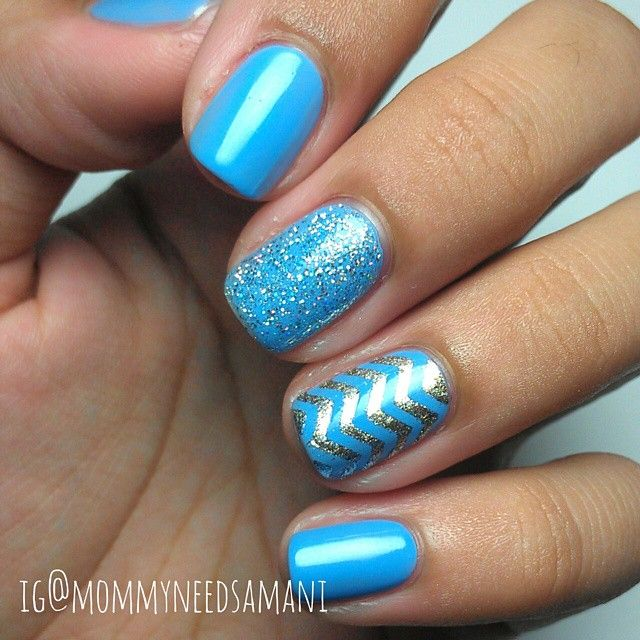 Light Blue And Silver Nail Art