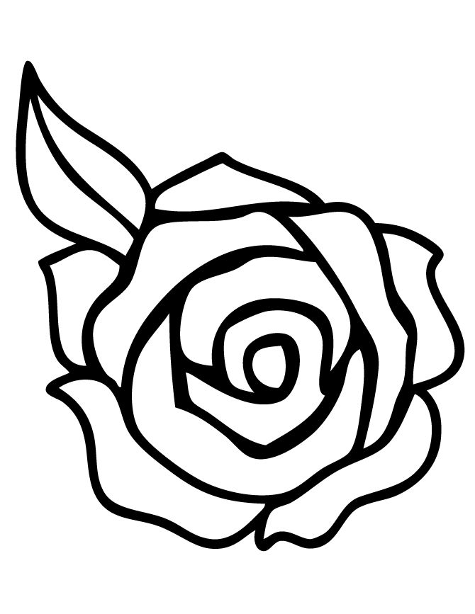 Rose With Leaf Coloring Page Free Printable Coloring