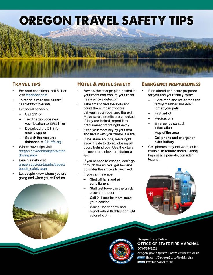 Oregon travel safety tips, by the Oregon State Police, Office of State Fire Marshal