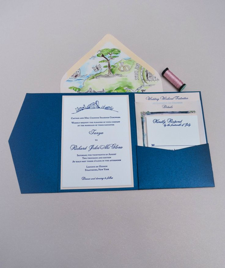 wedding invitations map%0A Elegant navy blue pocket folder with letterpress printed wedding invitation  with adorable barn design  Perfect