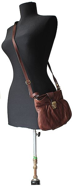 Ruched Brown Soft Leather Satchel/Cross Body Bag - Down to £34.99 from £19.99