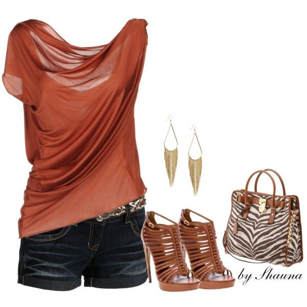 """sexy rust colored layer top"" by shauna-rogers on Polyvore"