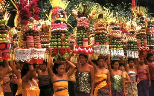 Colorful odalan temple anniversary procession  ~Bali~
