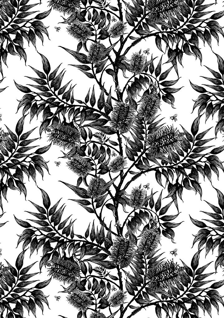 Bees In The Bottlebrush Wallpaper - Featuring Australian native bottlebrush flowers in spring, full of buzzing bush bees. Australian Designed, Australian Made - Available to SHIP WORLDWIDE. #AustralianWallpaper #BlackAndWhiteWallpaper