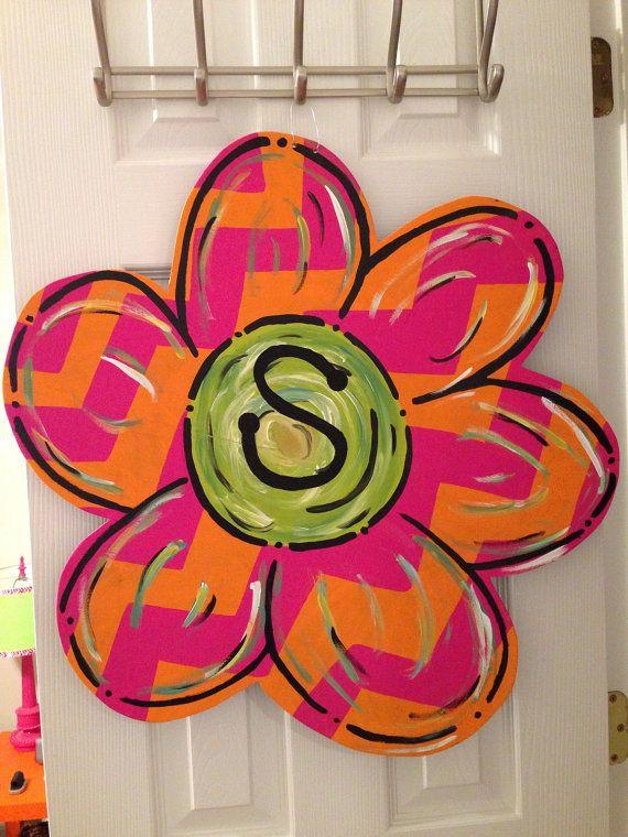 Chevron flower wooden door hanger on Etsy, $30.00
