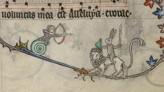 (Ms 107, fol 89r, Verdun, CC Bibliothèque de Verdun) W6: The bas-de-page, an unframed image that occurs in the lower margin, often contained humorous elements.