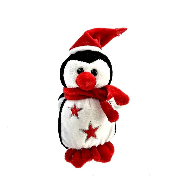 "Cute Penguin wearing a scarf & hat Christmas Teddy soft toy kids 7"" animal"