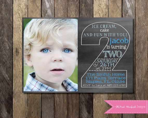 PRINTABLE Chalkboard Second Birthday Invitation With Picture