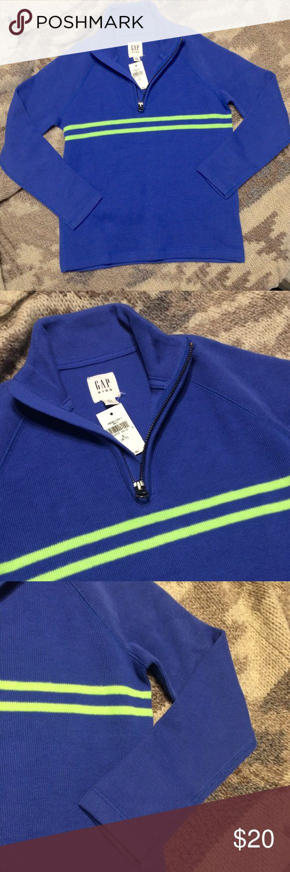 NEW Boy's GAP Sweater New with tags Boy's GAP Kids Sweater. Blue with green stripes and zip closure. See photos for detail. Great for church, family pictures, or any day for a well dressed kid! 😄 Size 6-7 (Small) GAP Shirts & Tops Sweaters