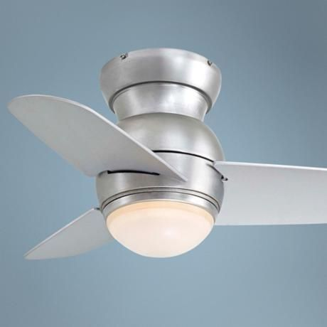 """26"""" Minka Aire Spacesaver Brushed Steel Hugger Ceiling Fan. Cute for kids' rooms. Looks like an airplane prop. And eliminates the need for a floor fan."""
