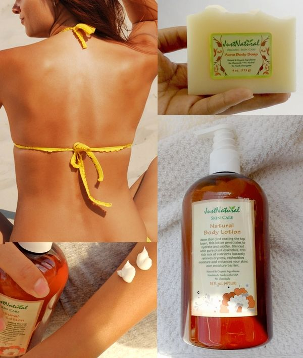 I had severe acne on my back, shoulders and arms.  I used many products that were made with chemicals and I always finished with allergic reactions. I learned that my skin got worse with the use of chemical based acne products. A few months ago I started using this natural body soap with amazing results. It has helped clear my sensitive skin and I use the natural body lotion after each use of the acne soap…Wow I now have no acne and no dry skin anymore! I am so happy with the results!