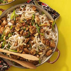 Cashew Chicken with Noodles Recipe -I tried this recipe with some friends one night when we were doing freezer meals. I was smitten! It's quick, easy and so delicious! —Anita Beachy, Bealeton, Virginia