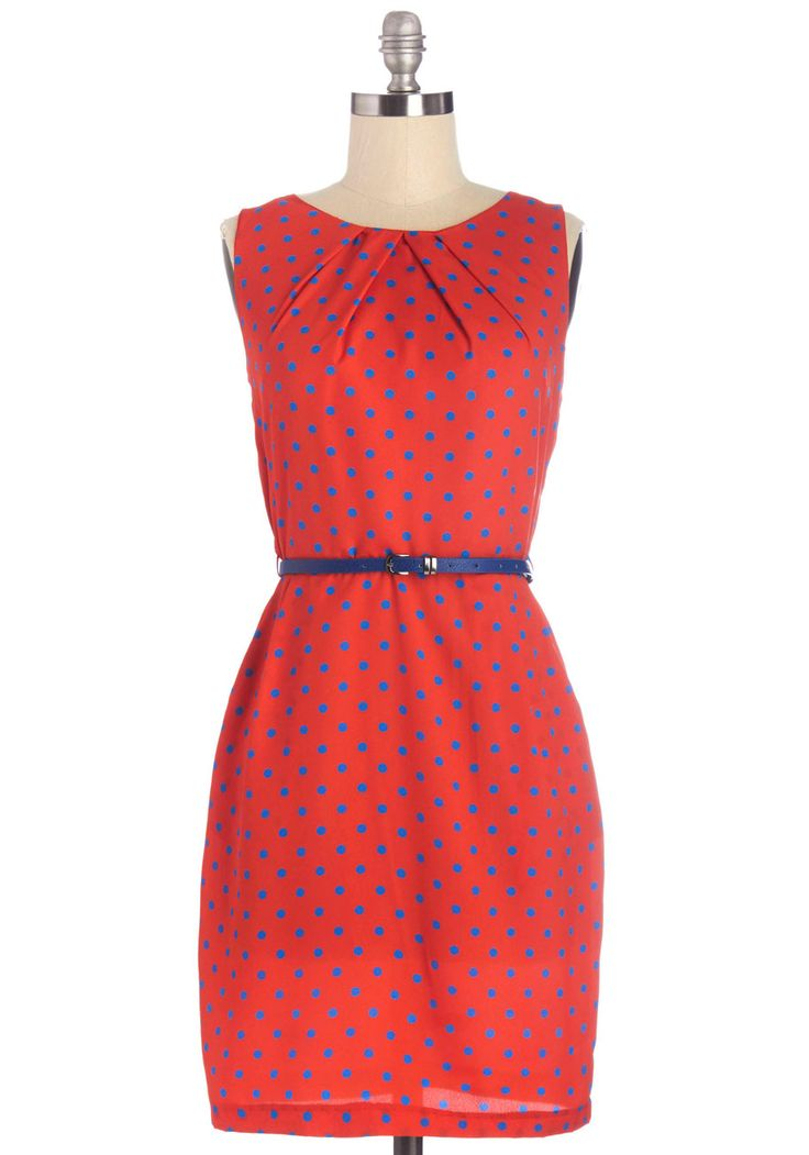 Merrily Primary Dress. When it comes to your primary style, you prefer bright and fun, which is why youve chosen to don this lightweight, red dress - dotted in a contrasting blue. #red #modcloth