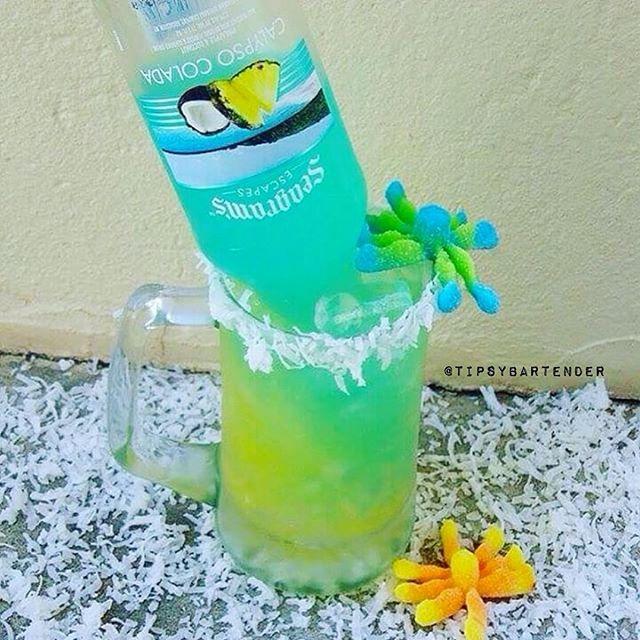 OCEAN FLOOR: 1/2 oz. (15ml) Coconut rum, 1 oz. (30ml) Pineapple juice, 1 oz. (30ml) Orange juice, & Seagram's Calypso Colada.