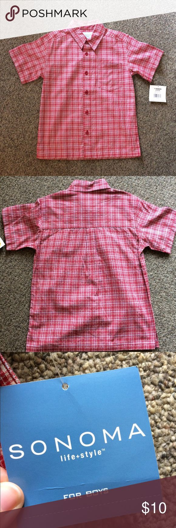 NWT boys dress shirt New with tags from Kohls. Sanoma brand. Boys size large button up dress tee. Sanoma Shirts & Tops Button Down Shirts