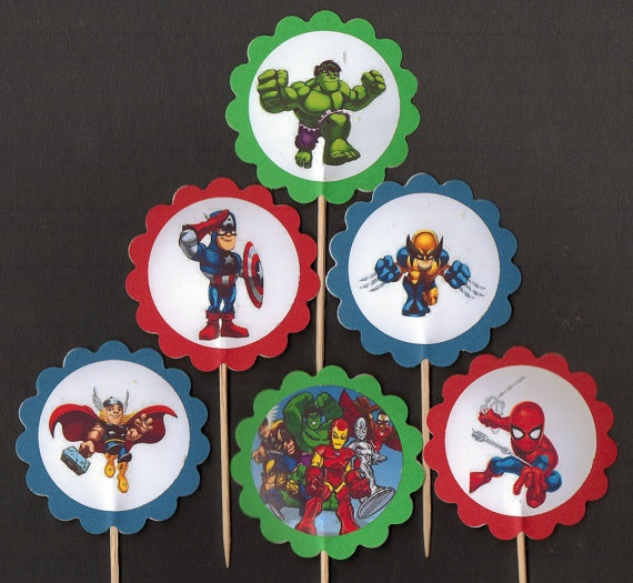 Super Hero Squad set of 12 birthday Cupcake Toppers by PartyBees, $9.00