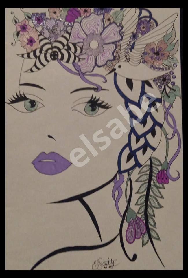 purple in the hair - zentangle art