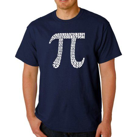 Los Angeles Pop Art Men's T-shirt - The First 100 Digits of PI, Size: 3XL, Blue