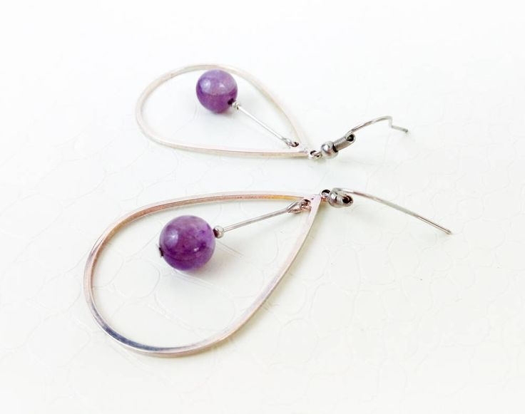 Amethyst and silver teardrop hoops  by MercysFancy on Etsy