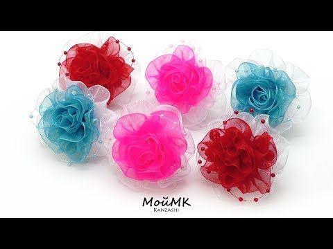 Резинки канзаши из органзы МК Organza Flower Kanzashi Tutorial DIY МойМК - YouTube