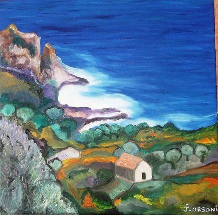 """Peinture paysage """"sur la route de Cargèse"""" en Corse  : Peintures par j-orsoni"""