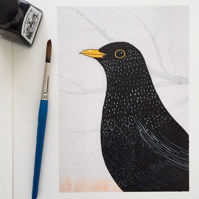Blackbird 🐦🌿 #blackbird #bird #koltrast #birddrawing #drawing #draw #guache #illustration #illustrationoftheday #viktoriaastrom #art #inkonpaper #indianink #watercolour #instaart #pen #penandpaper #teckning #konst #painting #artwork #artistsofinstagram #watercolor #birdsofinstagram #picoftheday #birdfreaks #allmightybirds