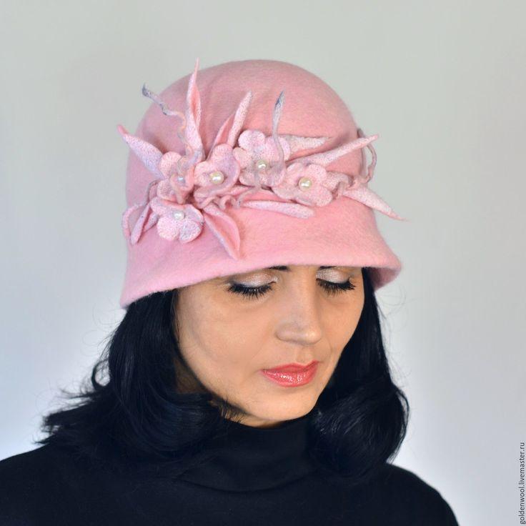 """Купить Шляпка валяная из натуральной шерсти """"Розовый турмалин"""" - розовый, клош, шляпка женская"""
