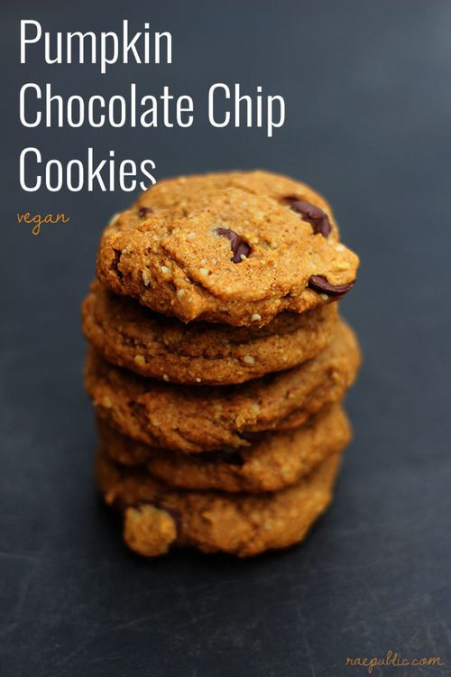 Easy, vegan pumpkin chocolate chip cookies. Made with maple syrup and organic pumpkin puree.