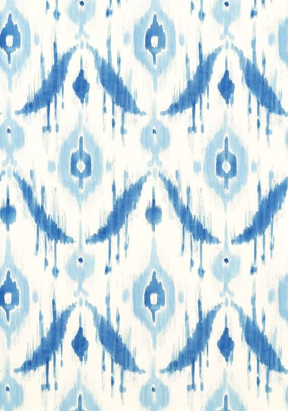 Island Ikat #wallpaper in #blue from the Avalon collection. #Thibaut