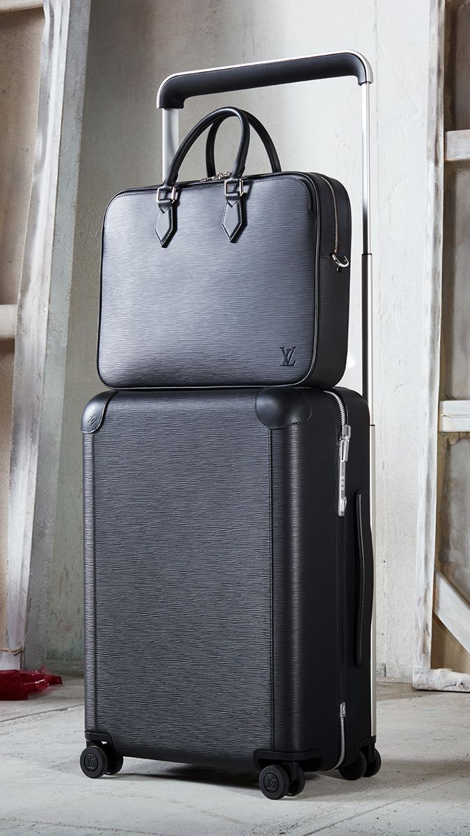 11a7a2619ad2 Louis Vuitton Horizon 55 Rolling Luggage and Dandy MM Business Bag in Black Epi  Leather.