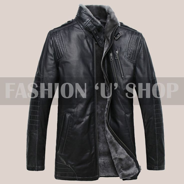 Classic Style Mens 100% Original Sheep Leather Jacket in Black Size S - 2XL